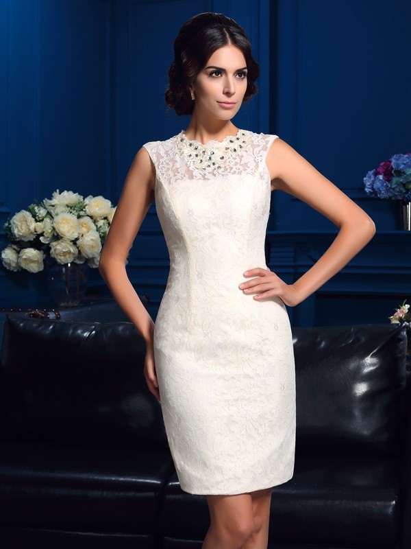 Lace Jewel Short/Mini Ivory Mother of the Bride Dresses