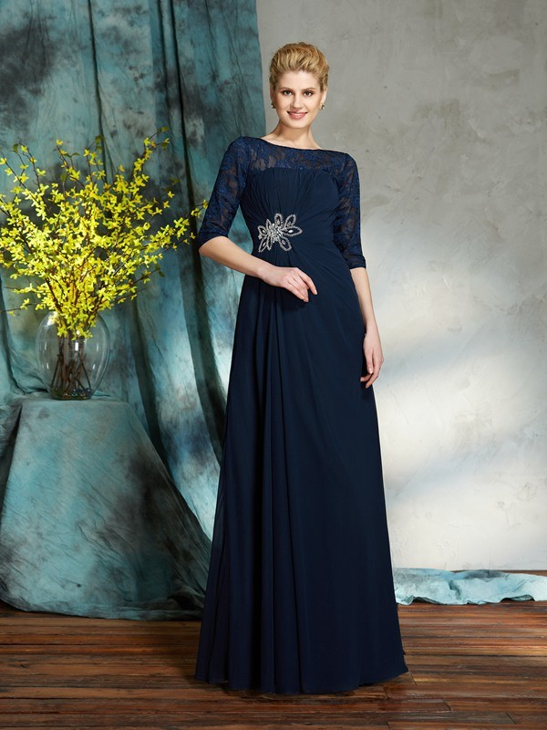 Bateau Floor-Length Dark Navy Mother of the Bride Dresses with Beading