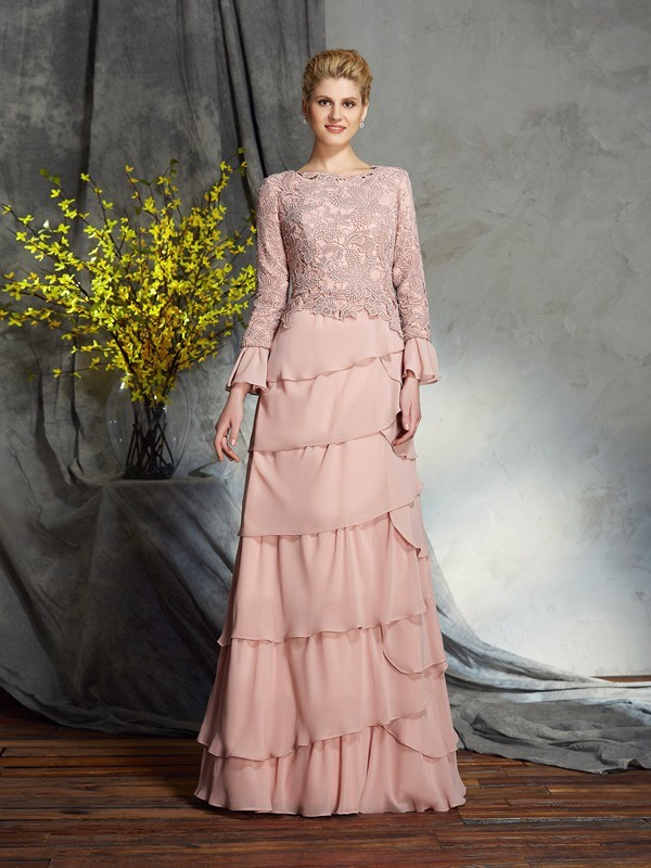 Pearl Pink Scoop Chiffon Floor-Length Mother of the Bride Dresses