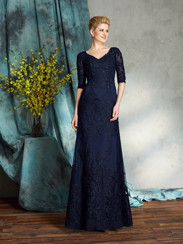 Satin Half Sleeves V-neck Floor-Length Dark Navy Mother of the Bride Dresses