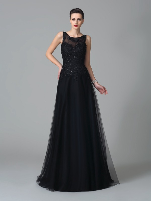 A-Line Straps Brush Train Black Mother of the Bride Dresses