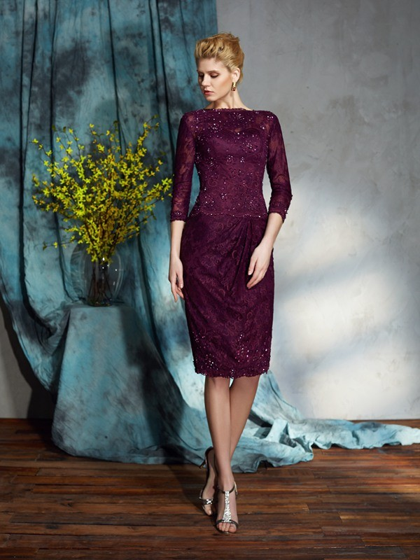 Sheath Lace 3/4 Sleeves Bateau Knee-Length Burgundy Mother of the Bride Dresses