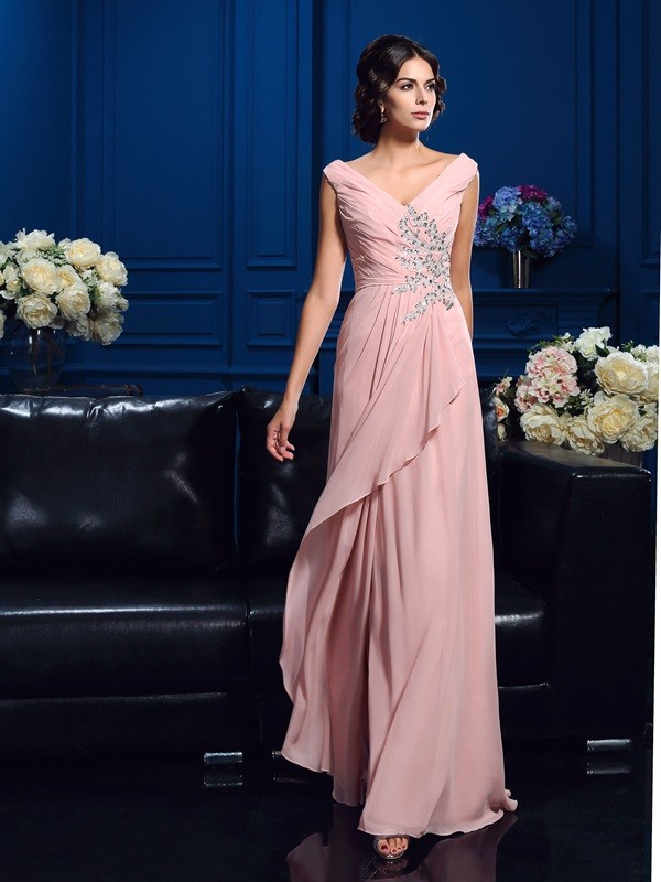 Chiffon V-neck Brush Train Mother of the Bride Dresses with Beading