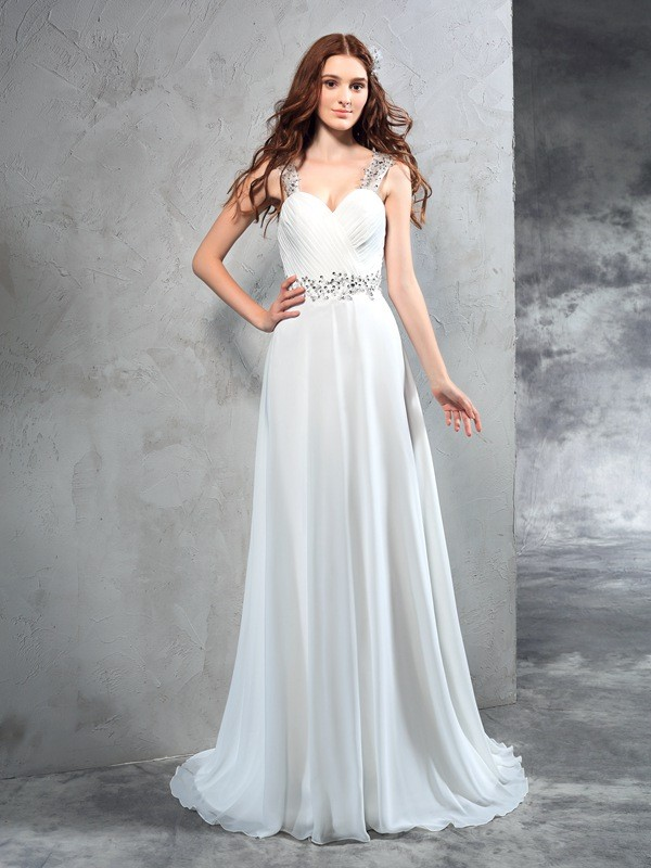 Ivory A-Line Sweetheart Brush Train Wedding Dresses with Pleats
