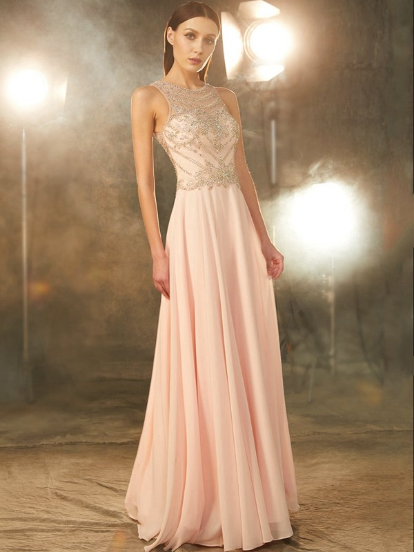 A-Line Chiffon Scoop Floor-Length Pearl Pink Prom Dresses