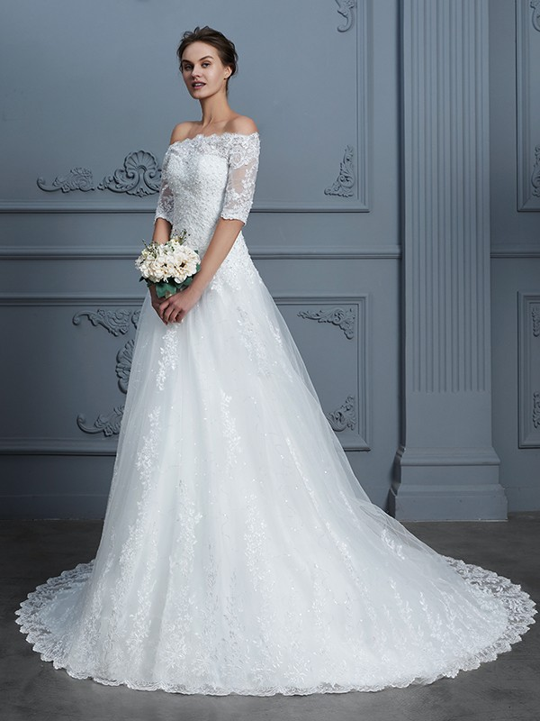 Ivory Ball Gown Off-the-Shoulder Wedding Dresses with Beading
