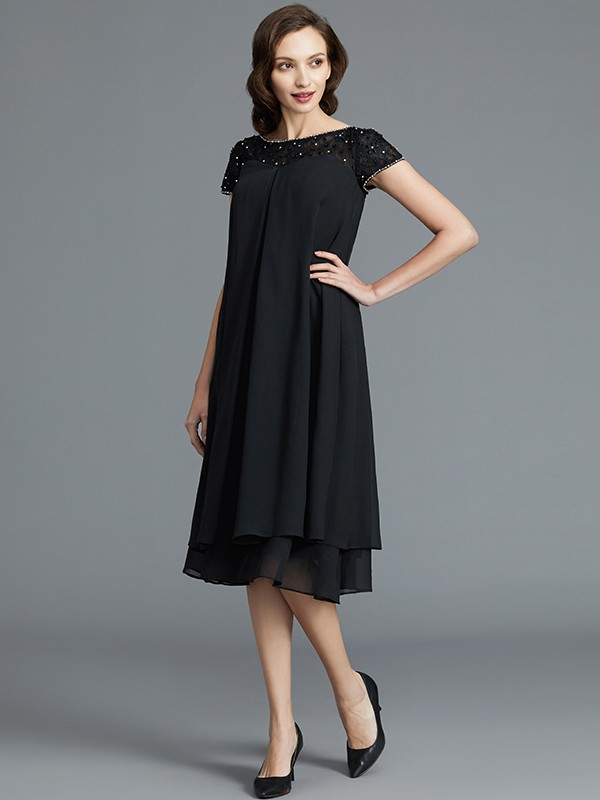 Chiffon A-Line Knee-Length Scoop Black Mother of the Bride Dresses
