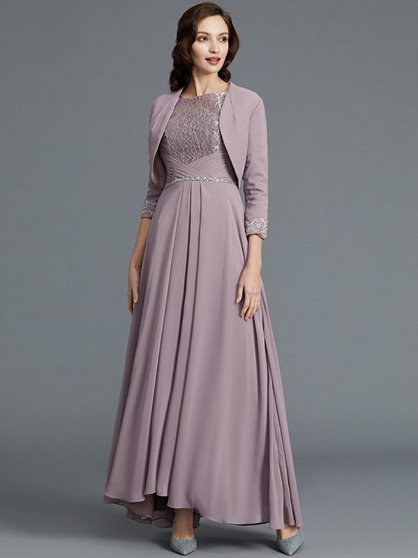 Half Sleeves Scoop Asymmetrical Lilac Mother of the Bride Dresses