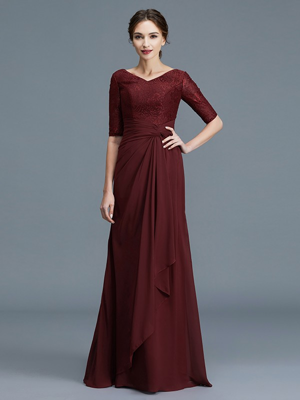 Floor-Length Burgundy Half Sleeves V-neck Mother of the Bride Dresses with Ruffles