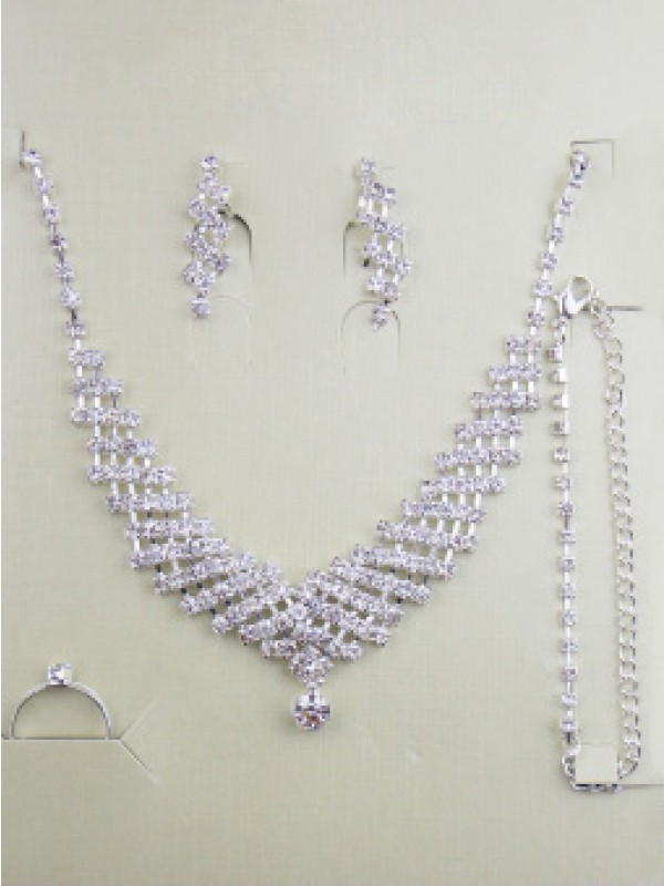 Gorgeous Alloy With Rhinestones Wedding Bridal Jewelry Set