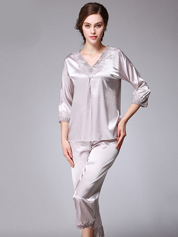 Soft Silk like Satin Pajamas Long Sets