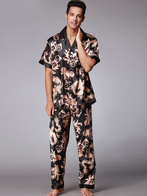 Silk like Satin Print Pajamas Sets For Men