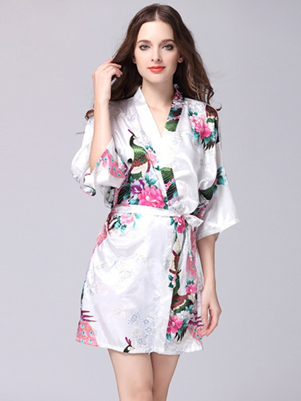 Pretty Silk like Satin Bride Bridesmaid Mom Print Robes