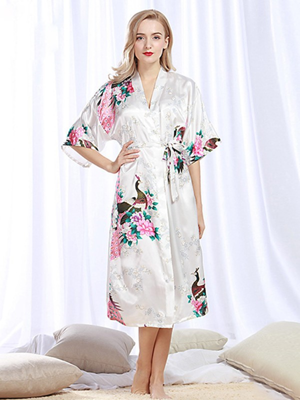Silk like Satin Print Bride Bridesmaid Mom Robes