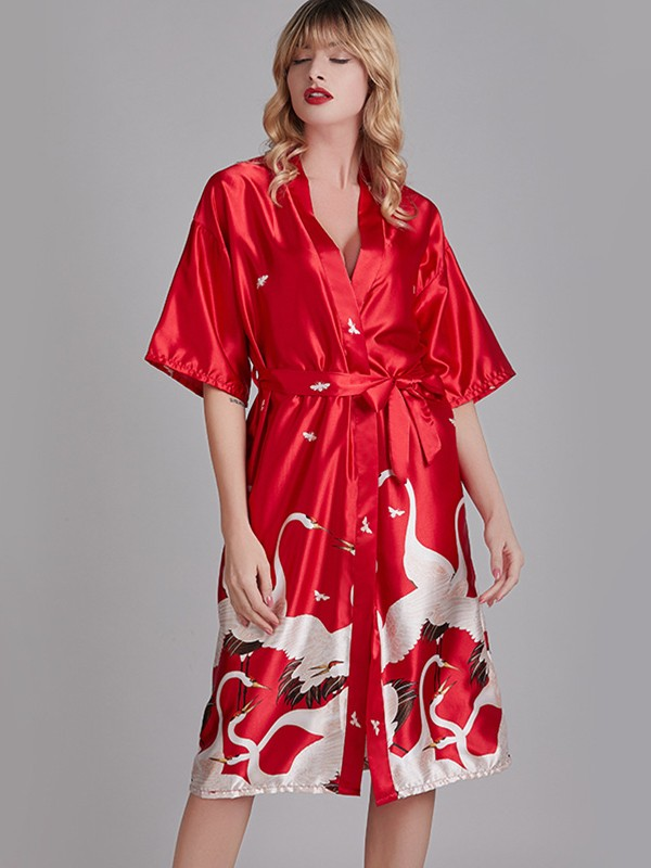 Comfortable Print Silk like Satin Bride Bridesmaid Mom Robes