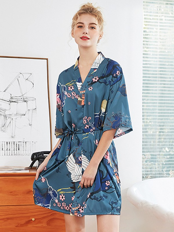 Print Silk like Satin Bride Bridesmaid Mom Robes