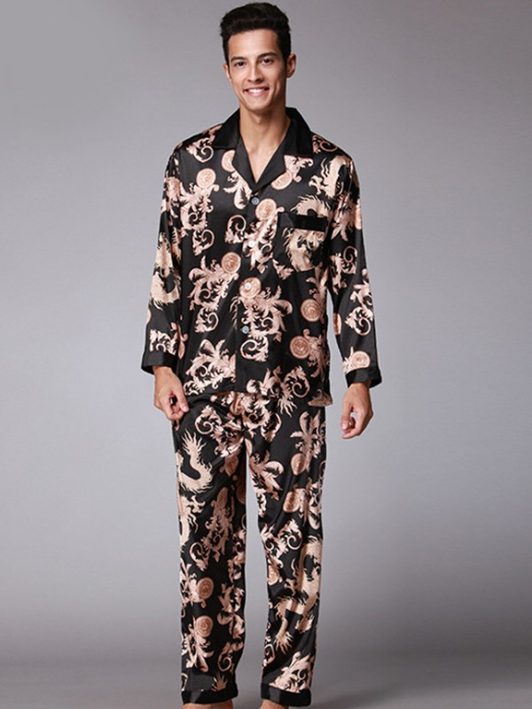 Print Silk like Satin Pajamas Long Sets For Men