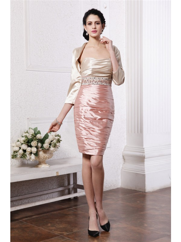 Sheath Strapless Short/Mini Multi Colors Mother of the Bride Dresses with Beading