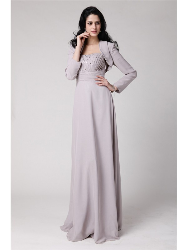 Sheath Chiffon Strapless Floor-Length Grey Mother of the Bride Dresses