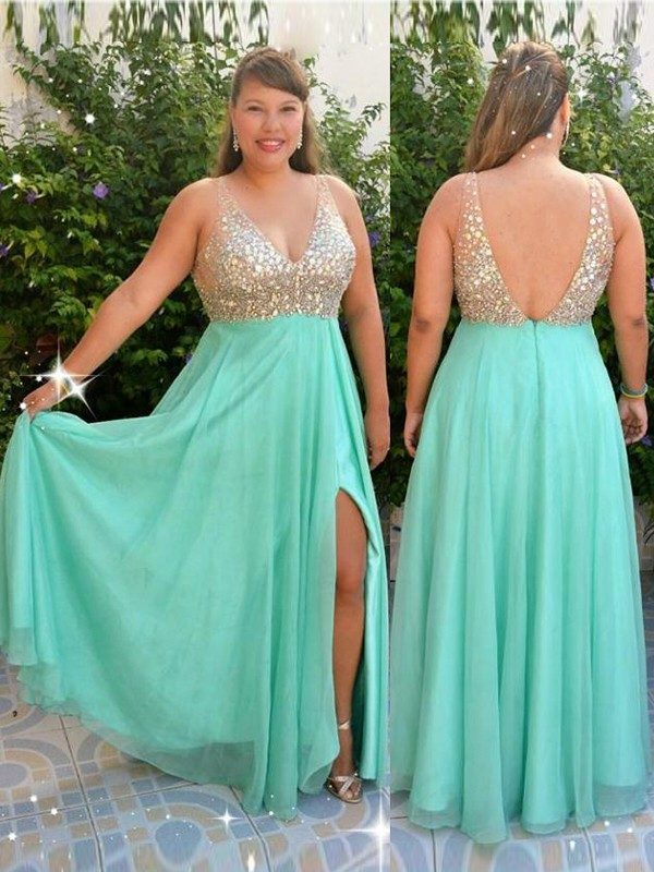 A-Line V-neck Floor-Length Blue Prom Dresses