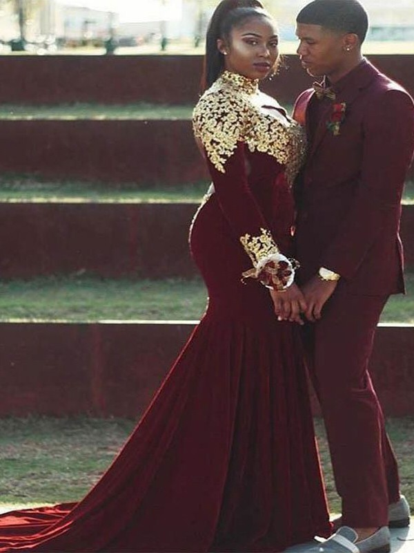 Mermaid High Neck Court Train Burgundy Prom Dresses with Applique