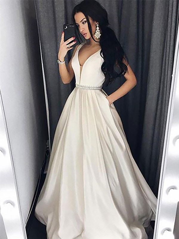 Satin V-neck Brush Train White Prom Dresses
