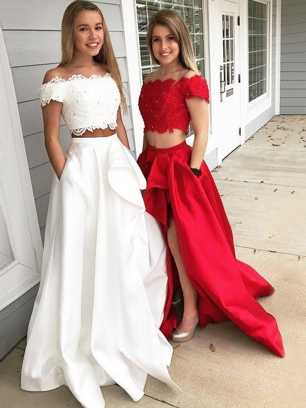 A-Line Satin Off-the-Shoulder Brush Train Red Prom Dresses