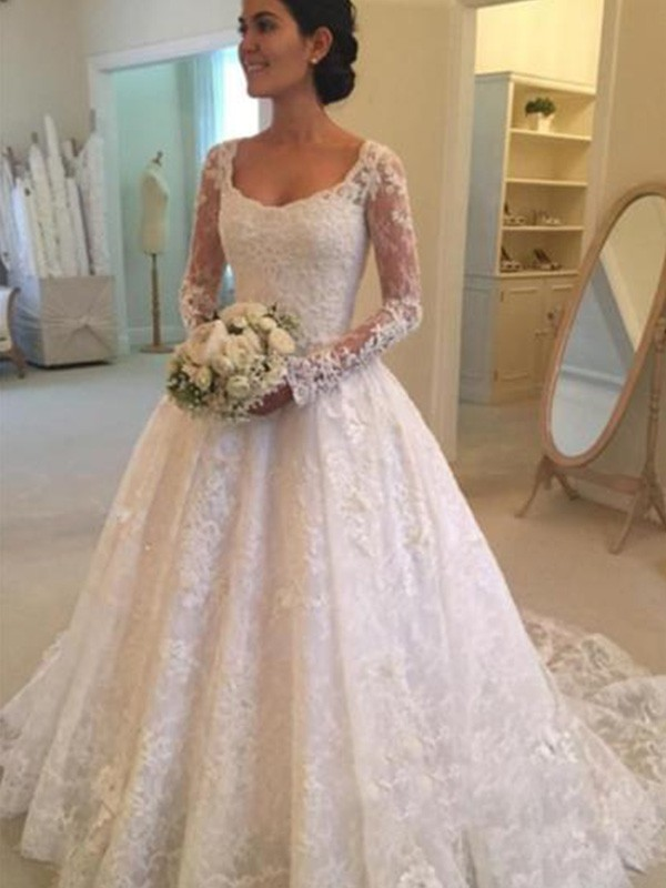 Ball Gown Scoop Cathedral Train Ivory Wedding Dresses with Ruffles