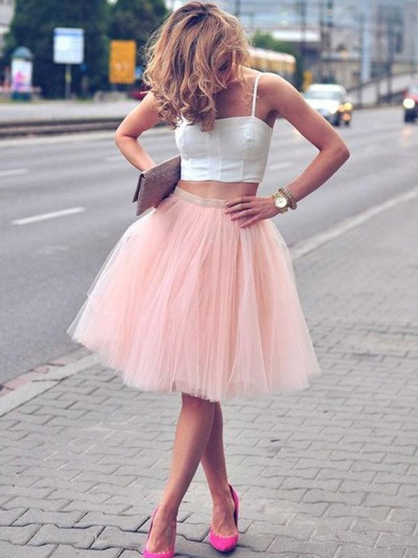 Pink Knee-Length Tulle Homecoming Dresses