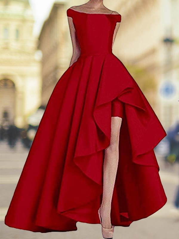 A-Line Red Off-the-Shoulder Asymmetrical Satin Prom Dresses