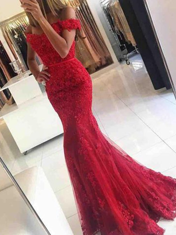 Mermaid Red Off-the-Shoulder Brush Train Tulle Prom Dresses
