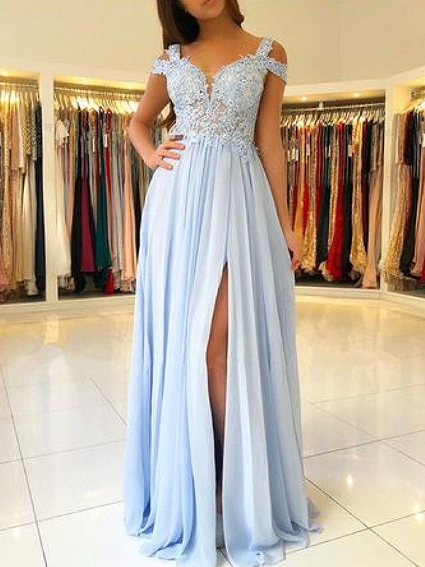 Sheath Light Sky Blue Floor-Length Chiffon Prom Dresses