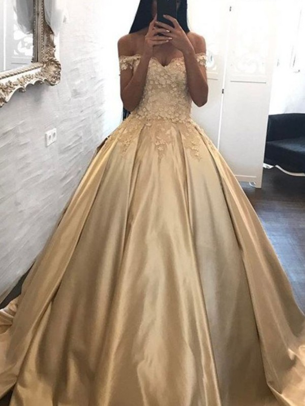 Ball Gown Off-the-Shoulder Brush Train Satin Prom Dresses