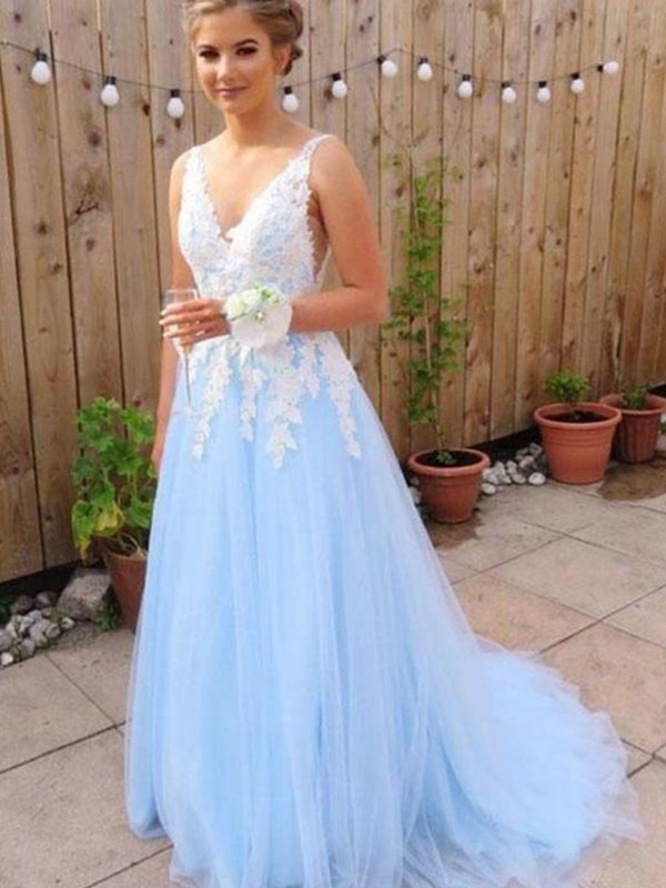 A-Line V-neck Applique Tulle Sleeveless Brush Train Prom Dresses