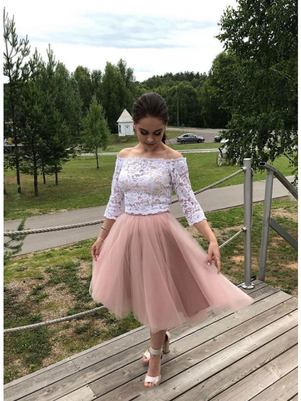 A-Line/Princess Tulle Lace Off-the-Shoulder Long Sleeves Tea-Length Cocktail Dresses