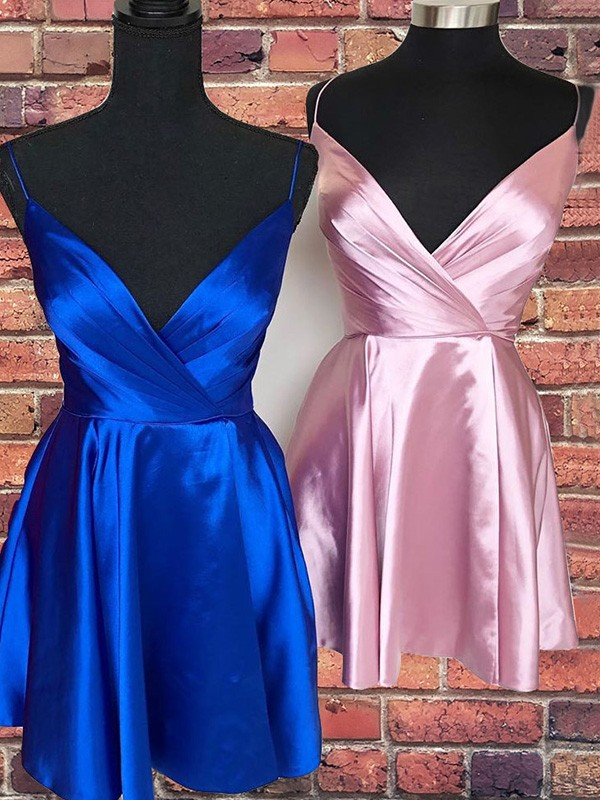A-Line/Princess Satin Spaghetti Straps Sleeveless Ruffles Short/Mini Homecoming Dresses