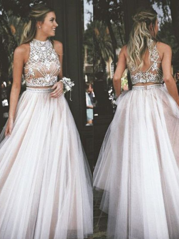Tulle High Neck Floor-Length Ivory Prom Dresses