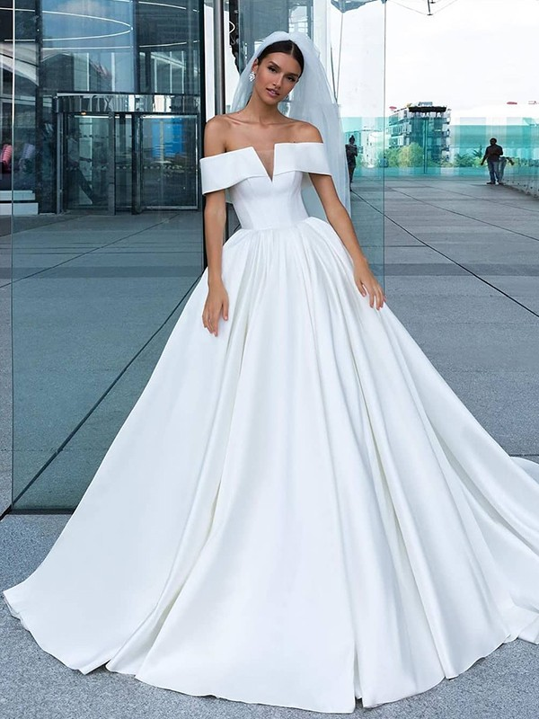 Ball Gown Satin Ruffles Off-the-Shoulder Sleeveless Court Train Wedding Dresses