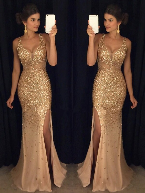 Champagne Sheath V-neck Sweep/Brush Train Prom Dresses with Sequin