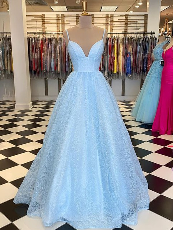 A-Line/Princess Floor-Length V-neck Sleeveless Tulle Ruffles Dresses