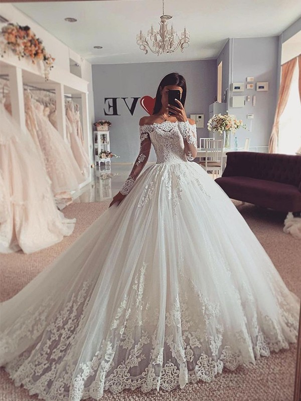 Ball Gown Off-the-Shoulder Tulle Applique Long Sleeves Court Train Wedding Dresses