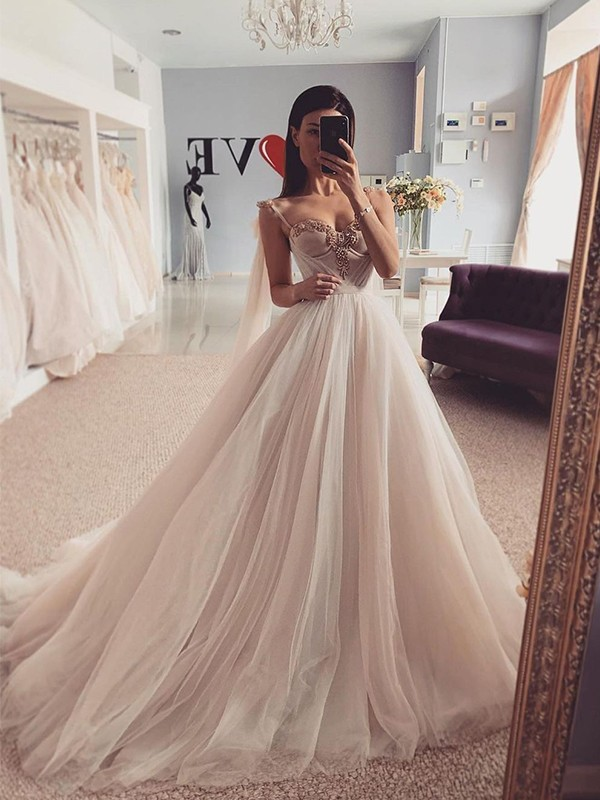 Ball Gown Sweetheart Tulle Ruffles Sleeveless Sweep/Brush Train Wedding Dresses
