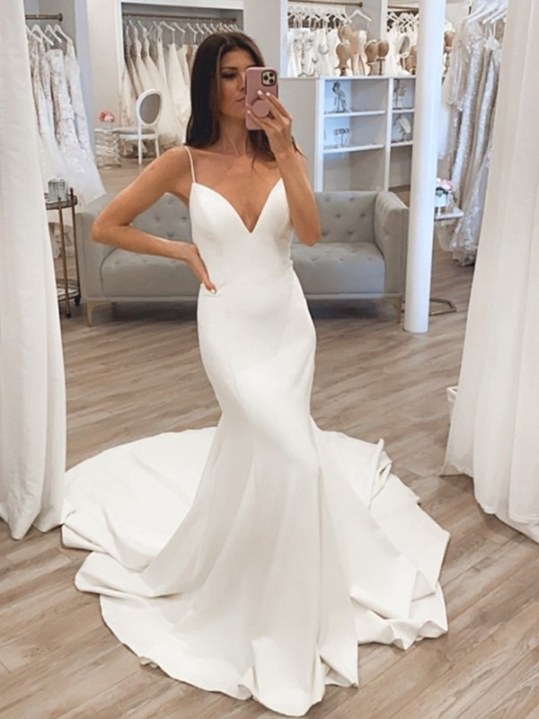 Trumpet/Mermaid V-neck Satin Sleeveless Ruffles Sweep/Brush Train Wedding Dresses