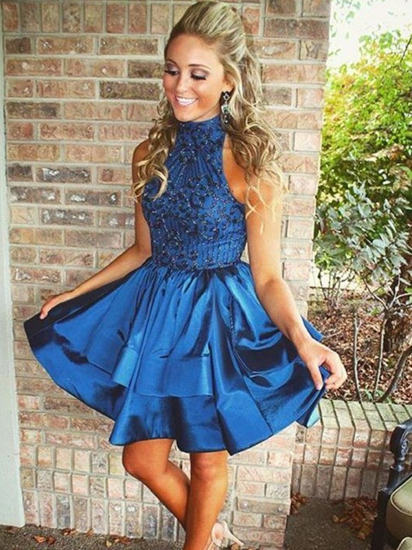 Royal Blue A-Line High Neck Short Homecoming Dresses with Beading
