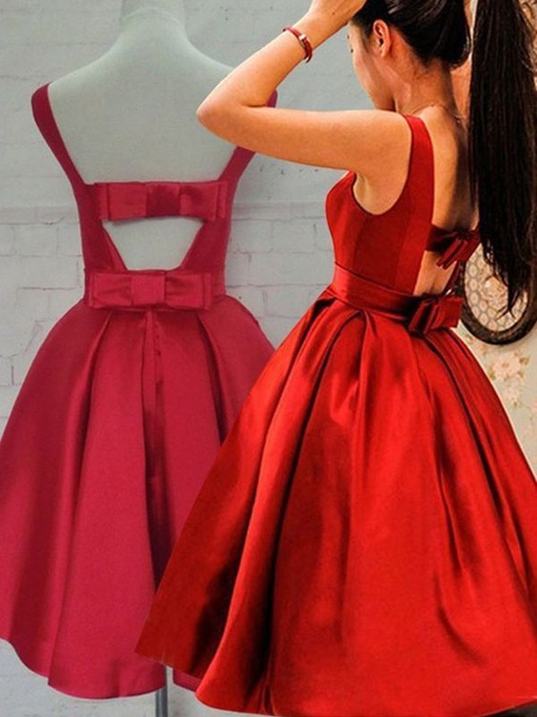 A-Line Scoop Short Red Homecoming Dresses with Sash/Ribbon/Belt