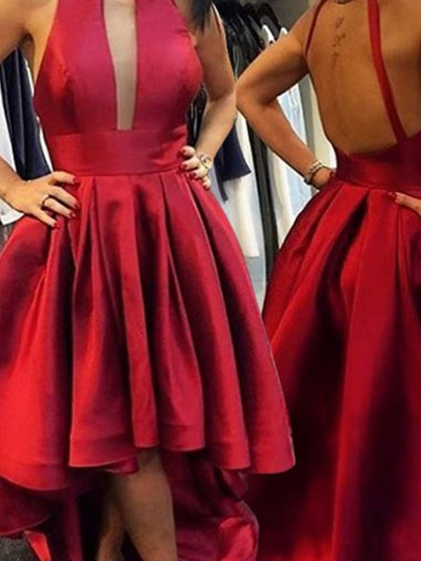 A-Line Halter Asymmetrical Red Homecoming Dresses
