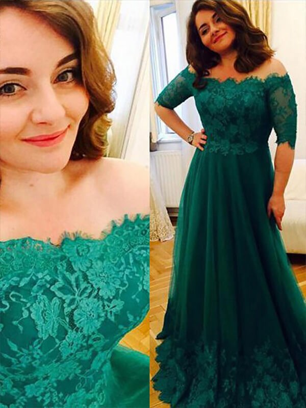 Tulle Short Sleeves Off-the-Shoulder Floor-Length Green Prom Dresses