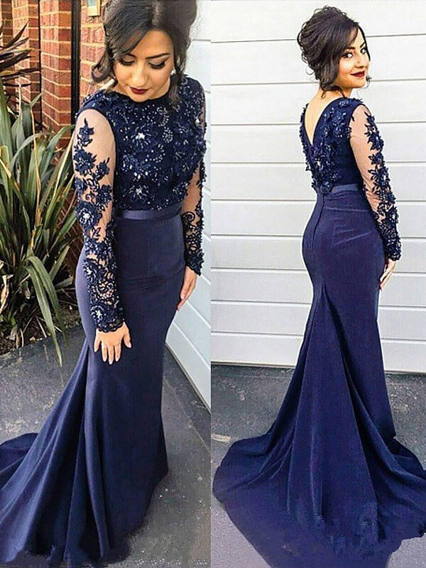Dark Navy Mermaid Scoop Brush Train Prom Dresses with Lace