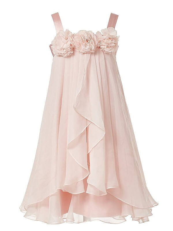 Pink Straps Ankle-Length Flower Girl Dresses with Hand-Made Flower