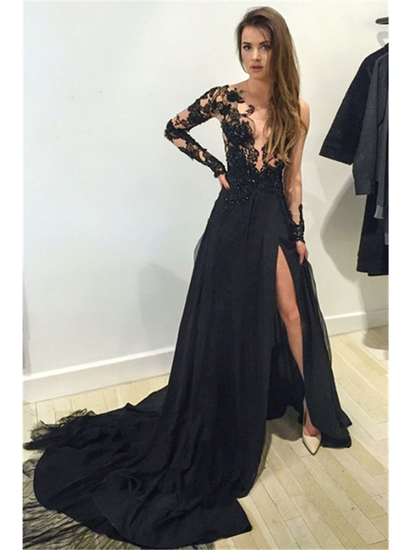 Black A-Line Bateau Court Train Prom Dresses with Lace